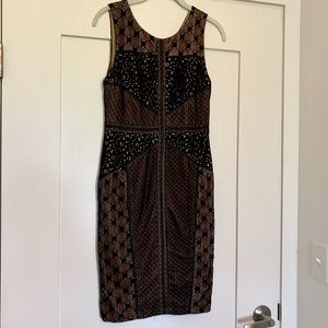 Black lace cut out cocktail dress
